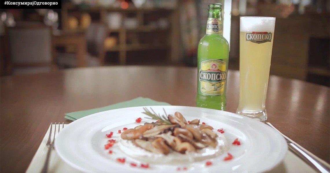 Скопско radler со печурки во крем сос